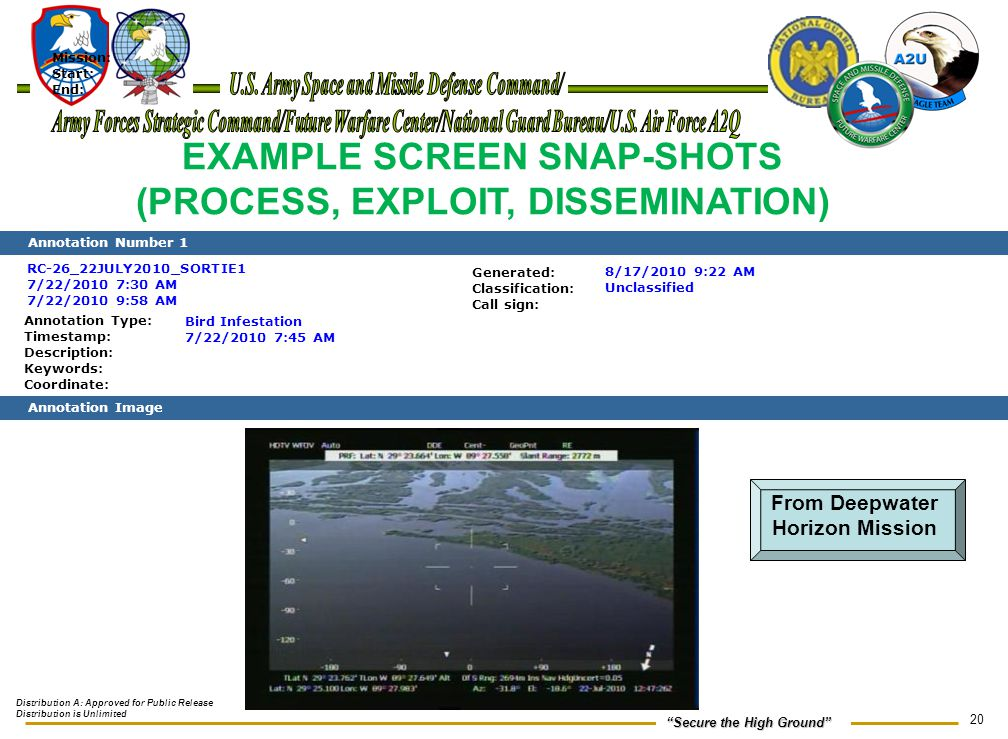 EXAMPLE SCREEN SNAP-SHOTS (PROCESS, EXPLOIT, DISSEMINATION)
