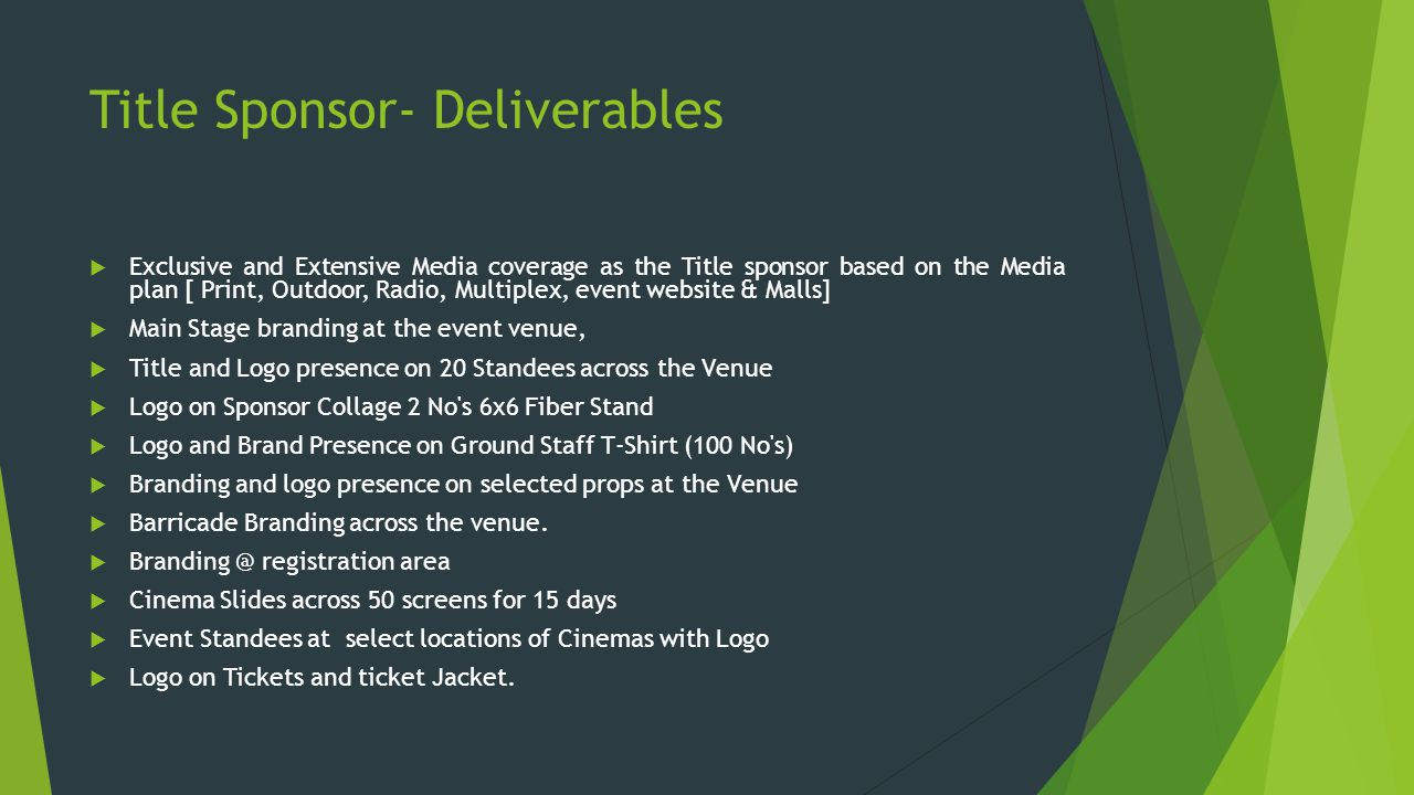 Title Sponsor- Deliverables