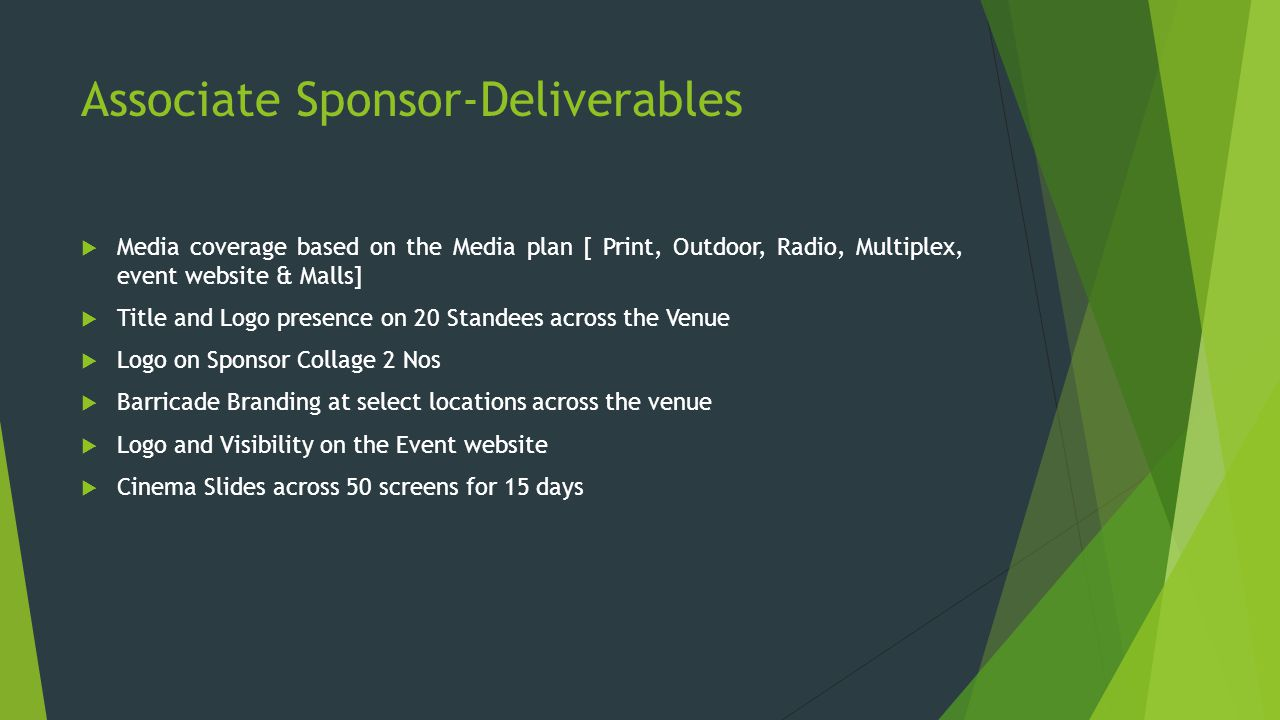 Associate Sponsor-Deliverables