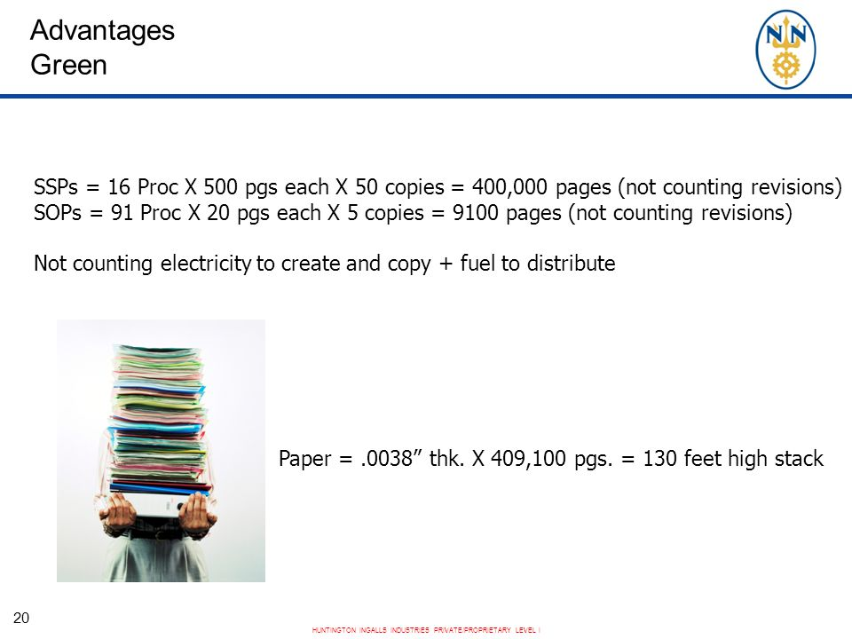 Advantages Green SSPs = 16 Proc X 500 pgs each X 50 copies = 400,000 pages (not counting revisions)