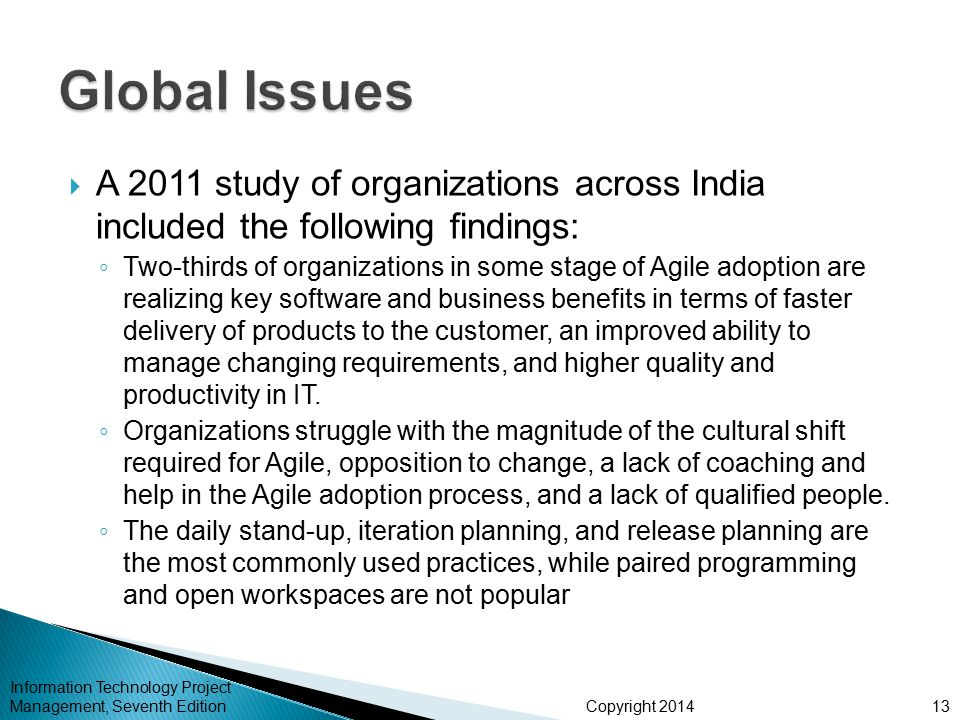 Global Issues A 2011 study of organizations across India included the following findings: