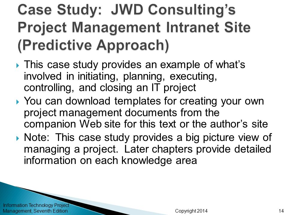 Case Study: JWD Consulting's Project Management Intranet Site (Predictive Approach)