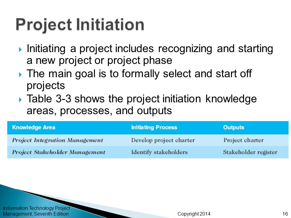 Project Initiation Initiating a project includes recognizing and starting a new project or project phase.