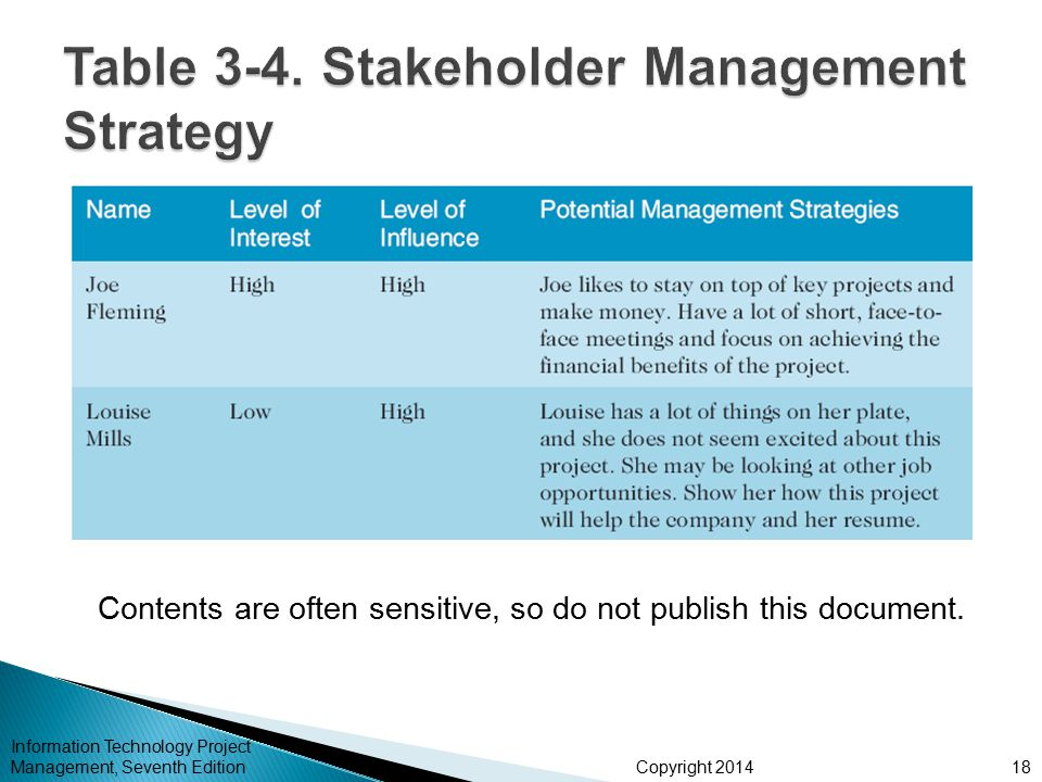 Table 3-4. Stakeholder Management Strategy