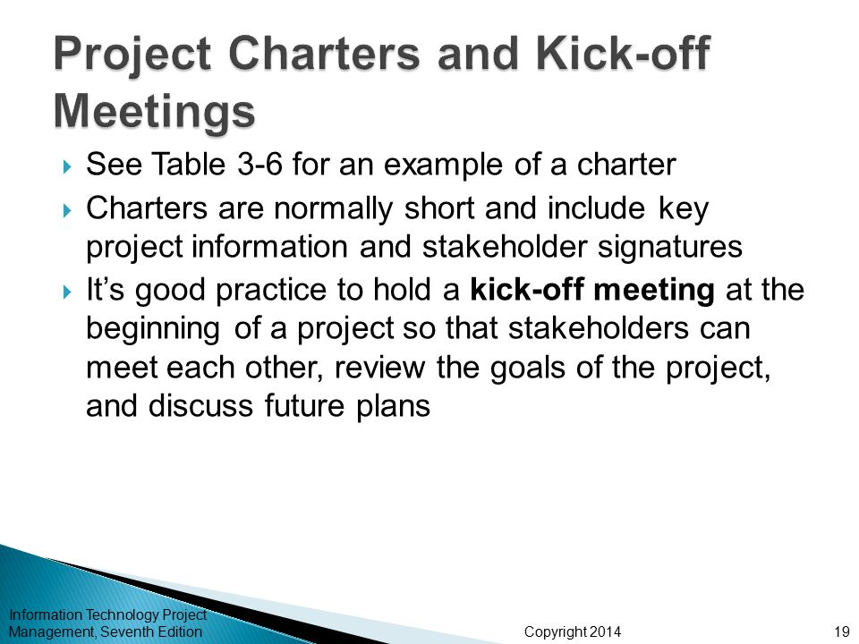 Project Charters and Kick-off Meetings