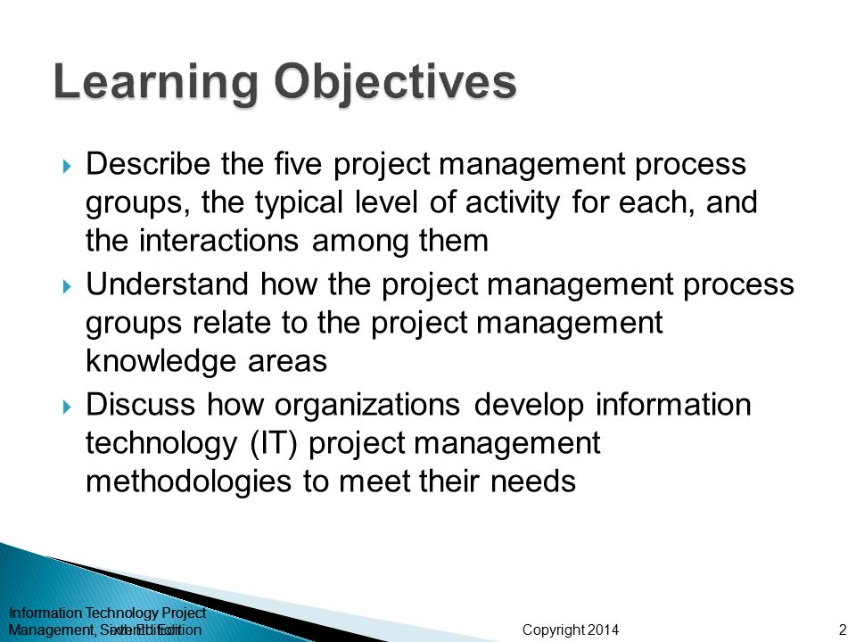 Learning Objectives Describe the five project management process groups, the typical level of activity for each, and the interactions among them.