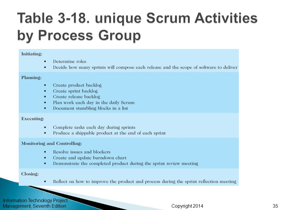 Table 3-18. unique Scrum Activities by Process Group