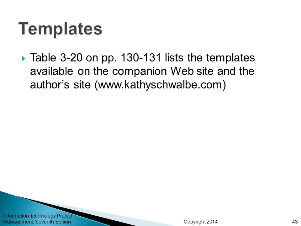 Templates Table 3-20 on pp. 130-131 lists the templates available on the companion Web site and the author's site (www.kathyschwalbe.com)