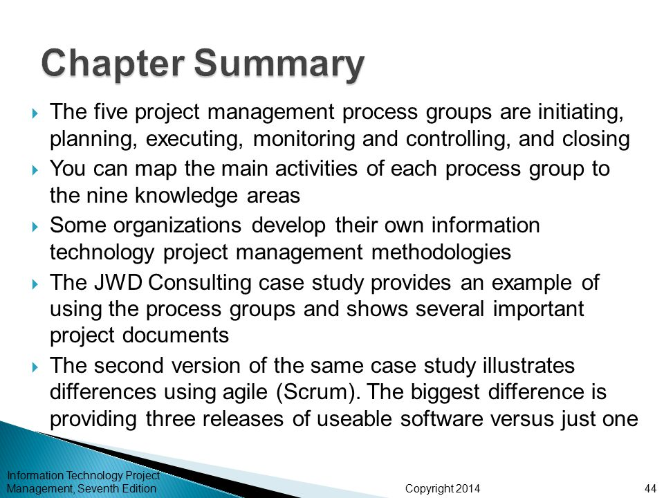 Chapter Summary The five project management process groups are initiating, planning, executing, monitoring and controlling, and closing.