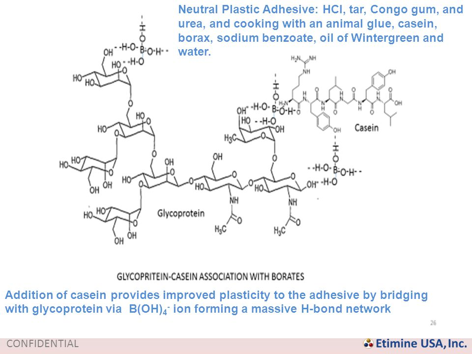 Neutral Plastic Adhesive: HCl, tar, Congo gum, and urea, and cooking with an animal glue, casein, borax, sodium benzoate, oil of Wintergreen and water.