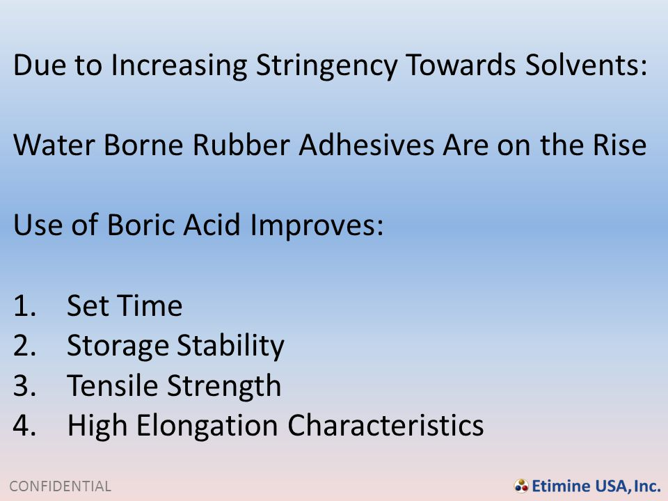 Due to Increasing Stringency Towards Solvents:
