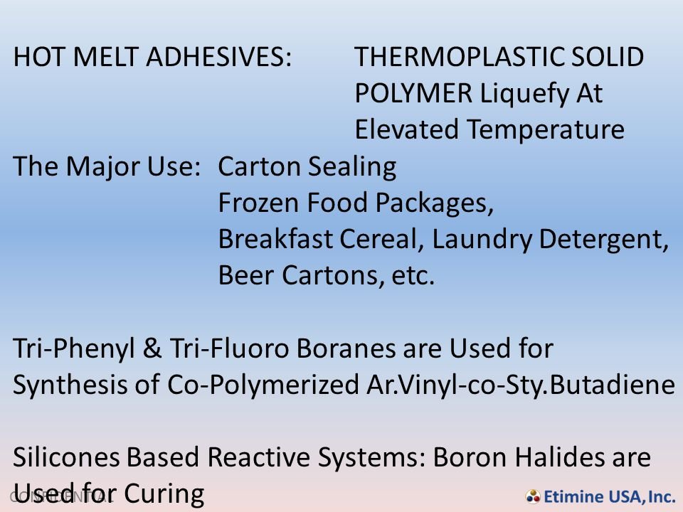 HOT MELT ADHESIVES: THERMOPLASTIC SOLID