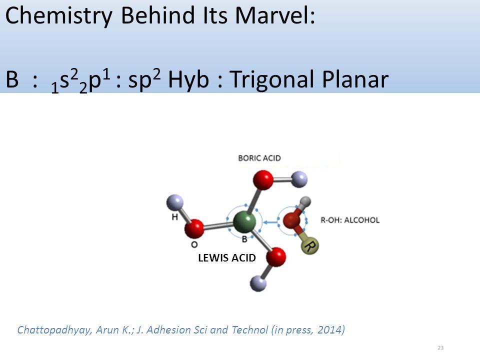 Chemistry Behind Its Marvel: B : 1s22p1 : sp2 Hyb : Trigonal Planar