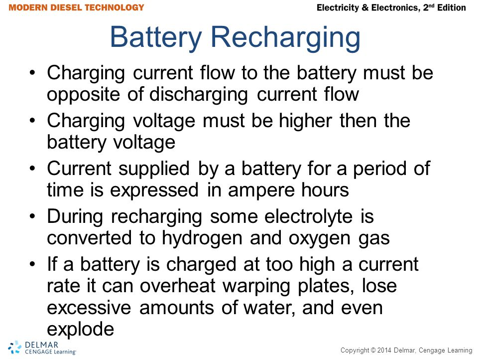 Battery Recharging Charging current flow to the battery must be opposite of discharging current flow.