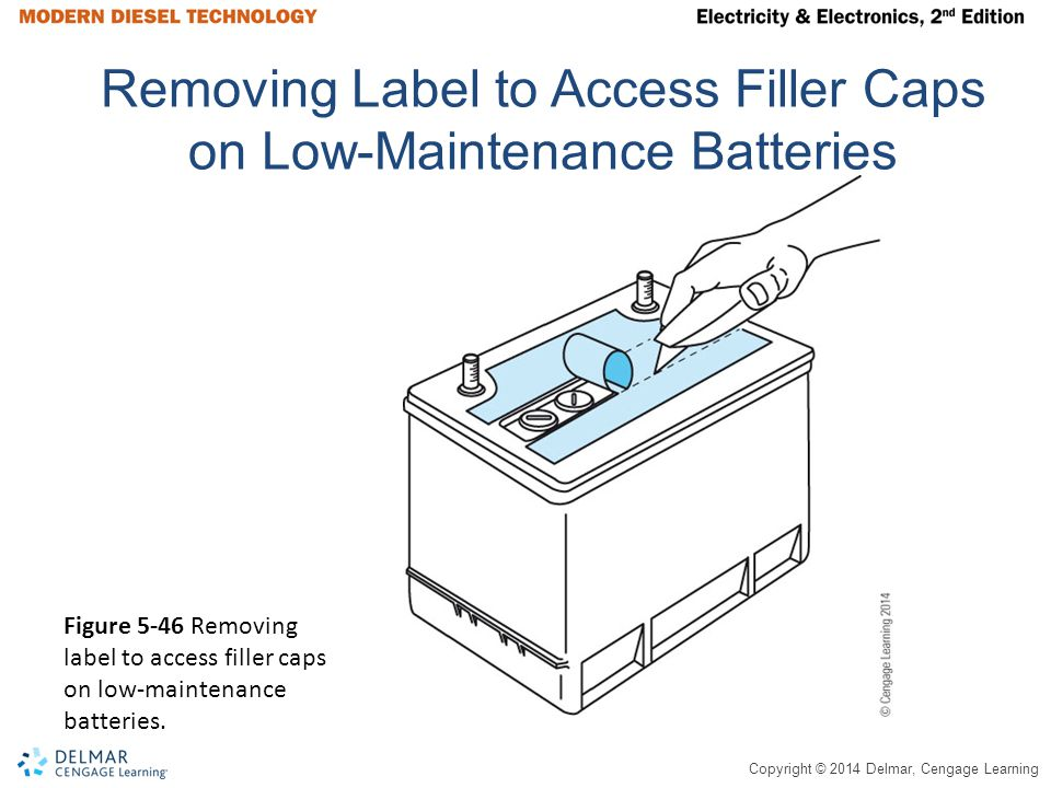 Removing Label to Access Filler Caps on Low-Maintenance Batteries