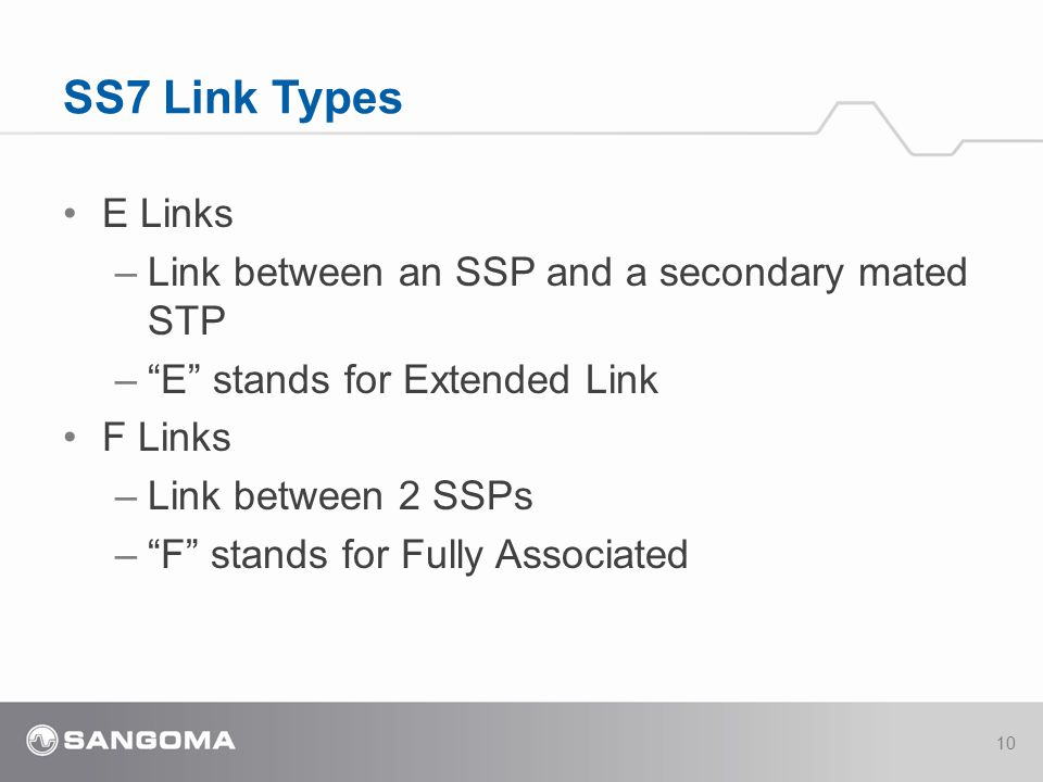 SS7 Link Types E Links Link between an SSP and a secondary mated STP