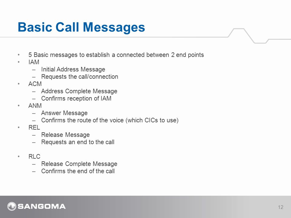4/14/2017 Basic Call Messages. 5 Basic messages to establish a connected between 2 end points. IAM.