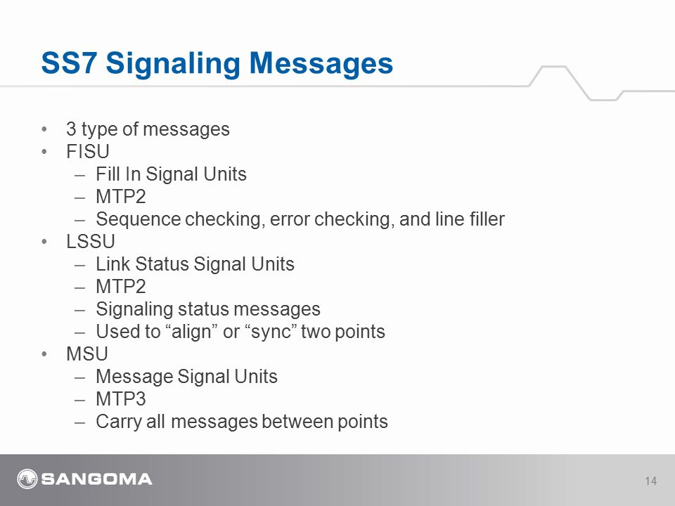 SS7 Signaling Messages 3 type of messages FISU Fill In Signal Units