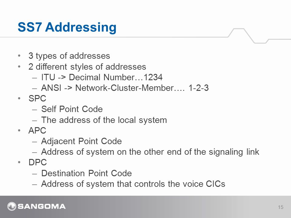 SS7 Addressing 3 types of addresses 2 different styles of addresses