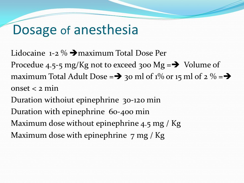 Dosage of anesthesia