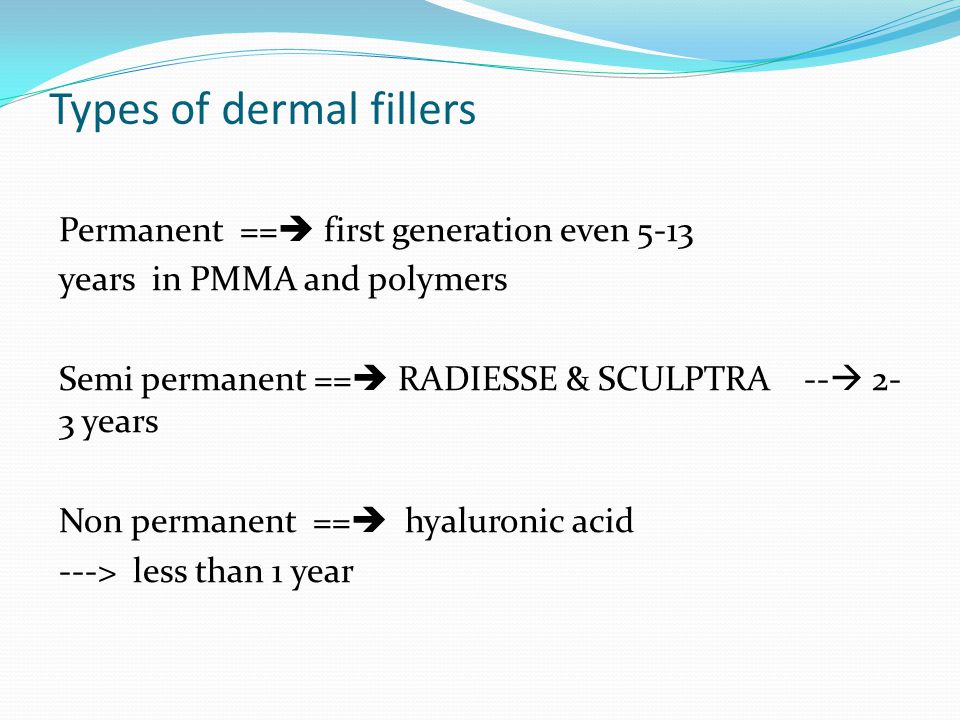 Types of dermal fillers