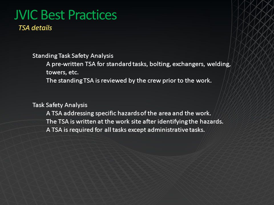 JVIC Best Practices TSA details Standing Task Safety Analysis