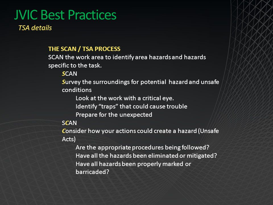 JVIC Best Practices TSA details THE SCAN / TSA PROCESS