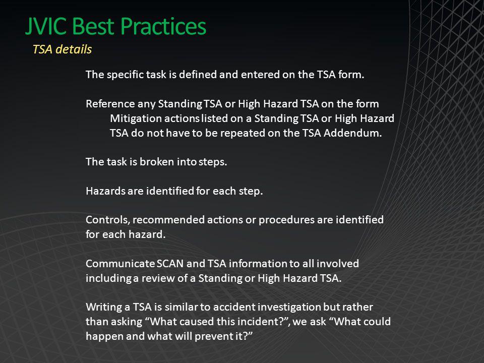 JVIC Best Practices TSA details