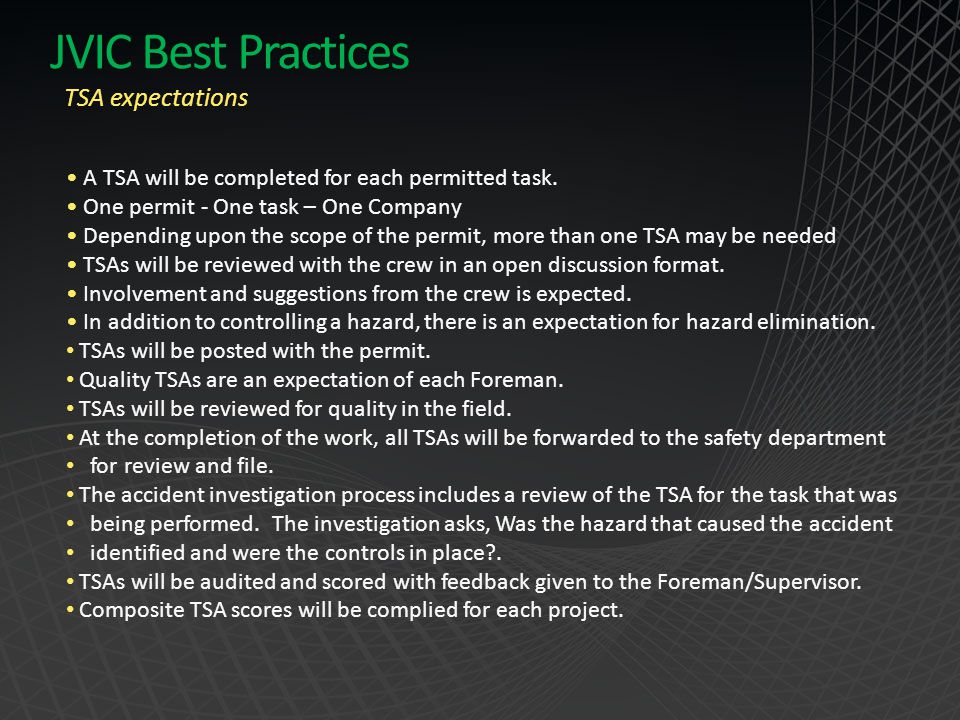JVIC Best Practices TSA expectations