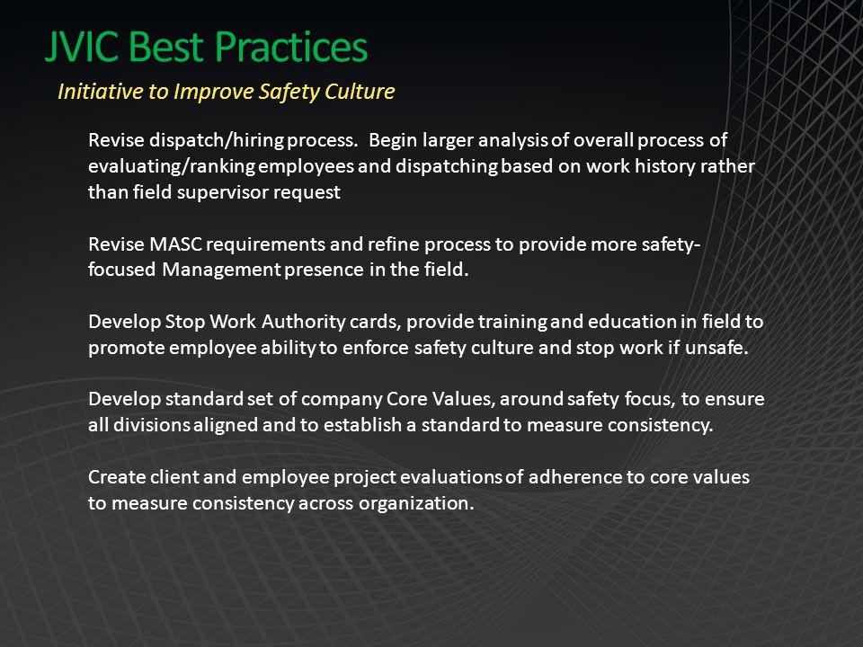 JVIC Best Practices Initiative to Improve Safety Culture