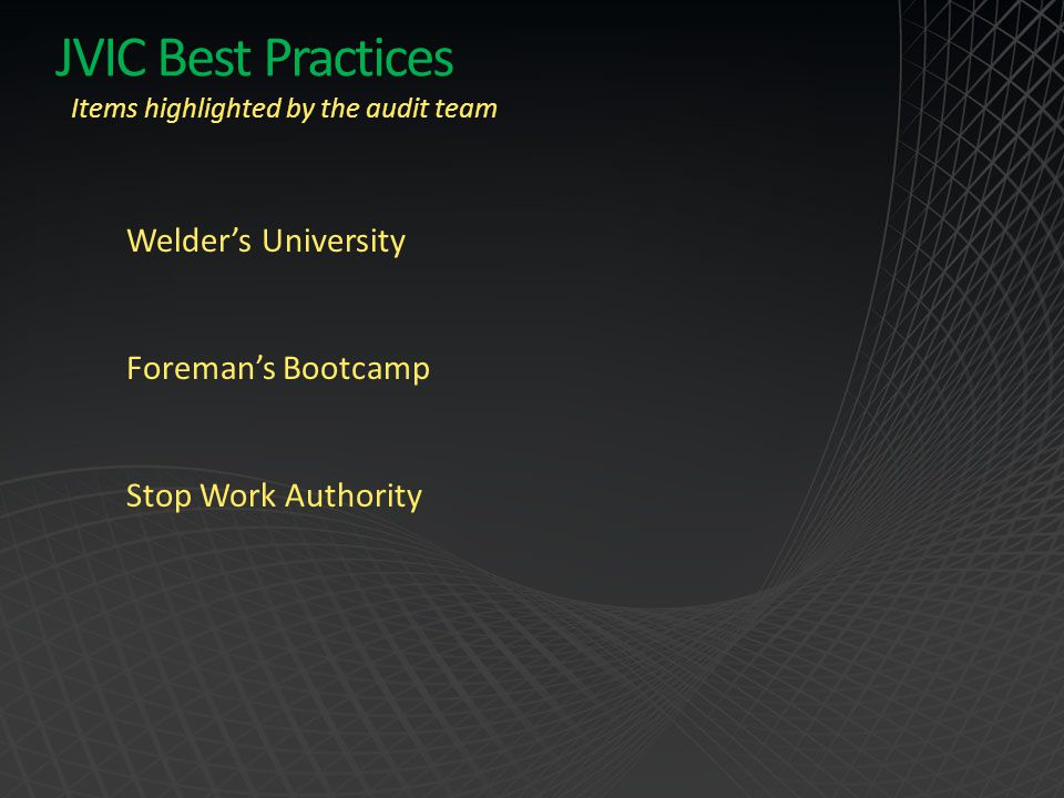 JVIC Best Practices Welder's University