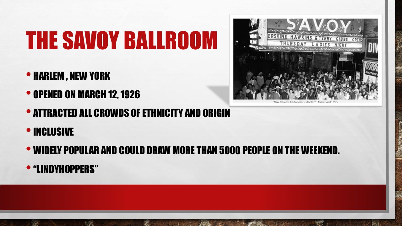The savoy ballroom Harlem , new York Opened on march 12, 1926