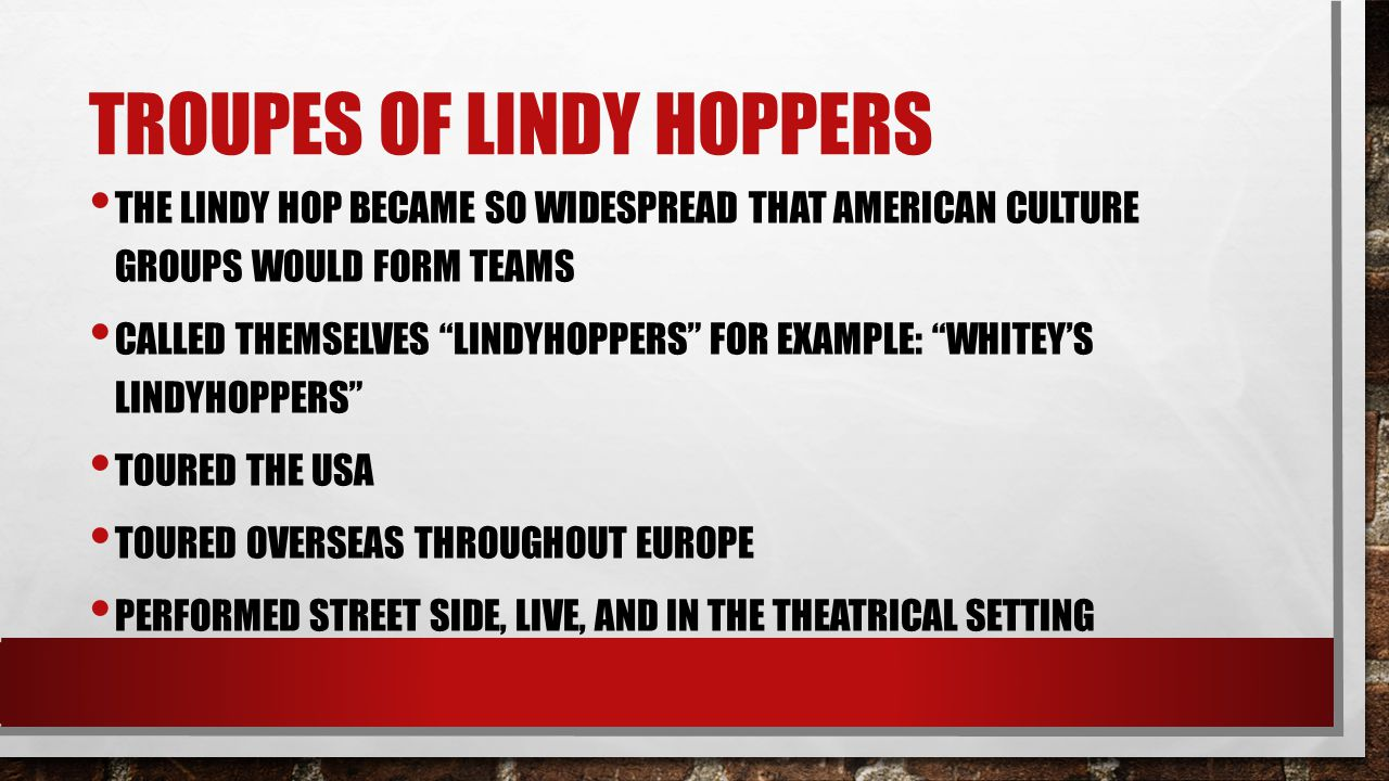 Troupes of lindy hoppers