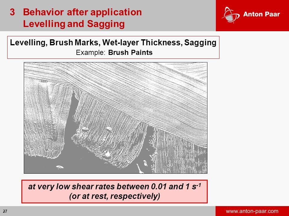 3 Behavior after application Levelling and Sagging