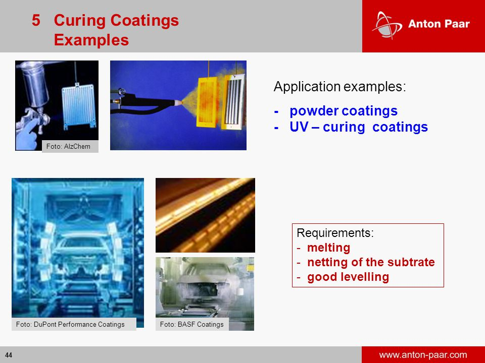 5 Curing Coatings Examples Application examples: