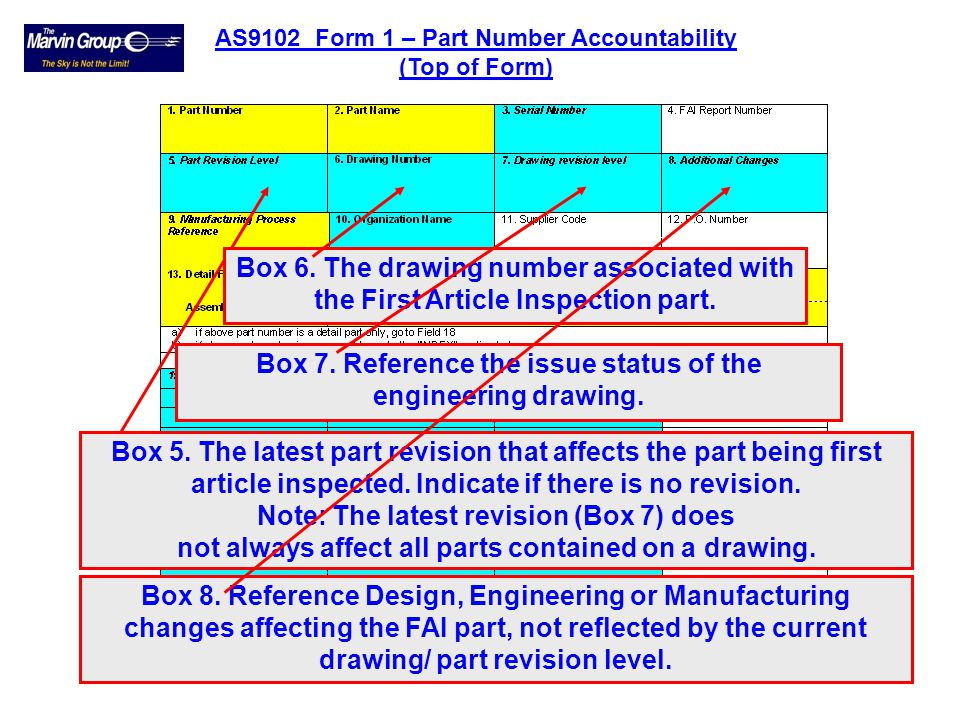 Box 7. Reference the issue status of the engineering drawing.