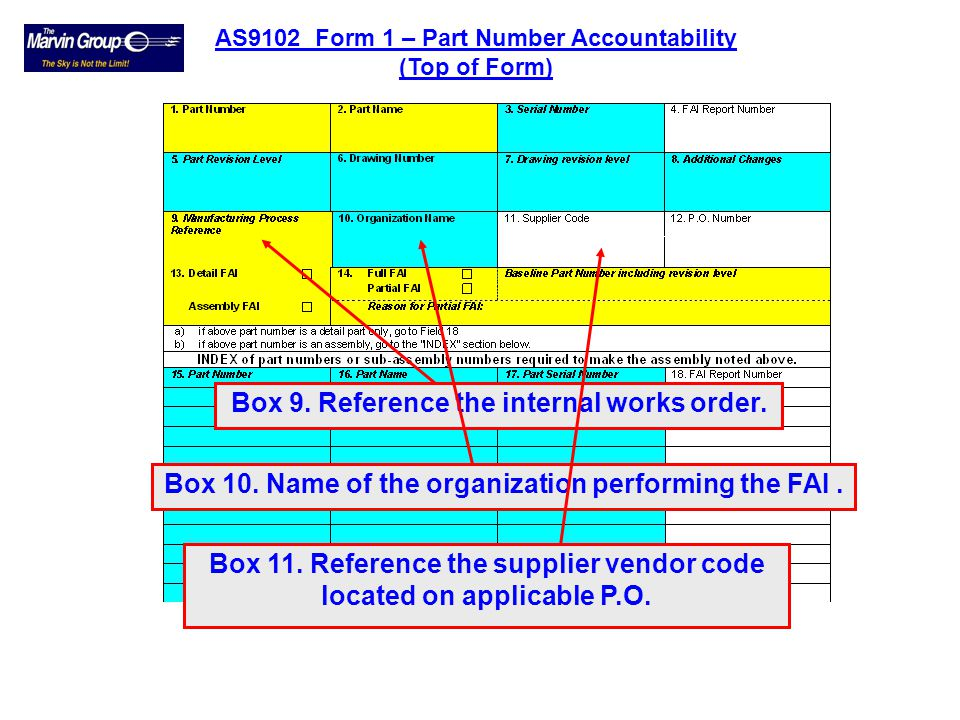 Box 9. Reference the internal works order.