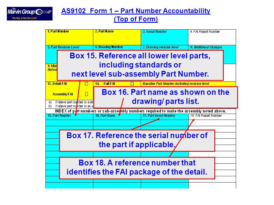 Box 15. Reference all lower level parts, including standards or