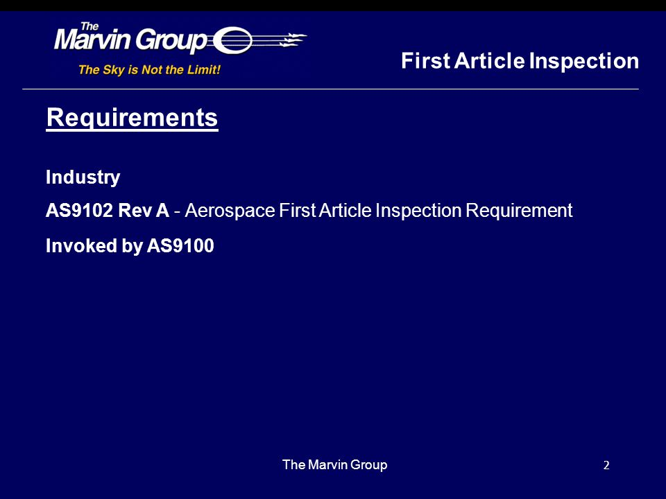 Requirements First Article Inspection Industry
