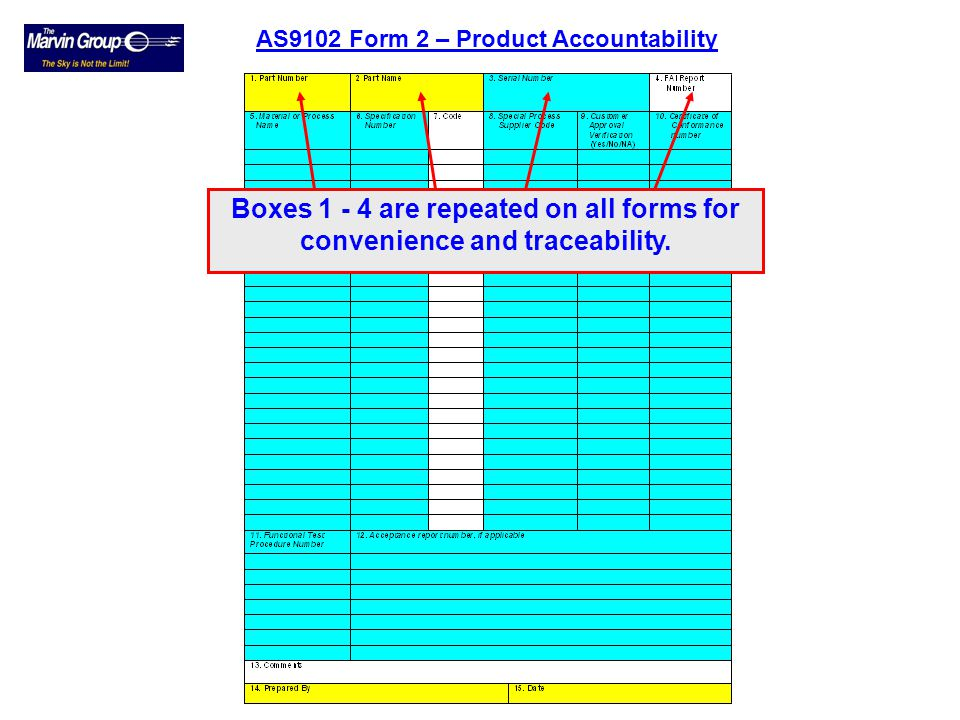 AS9102 Form 2 – Product Accountability