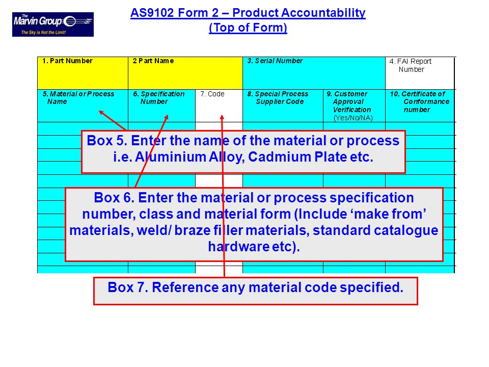 Box 7. Reference any material code specified.