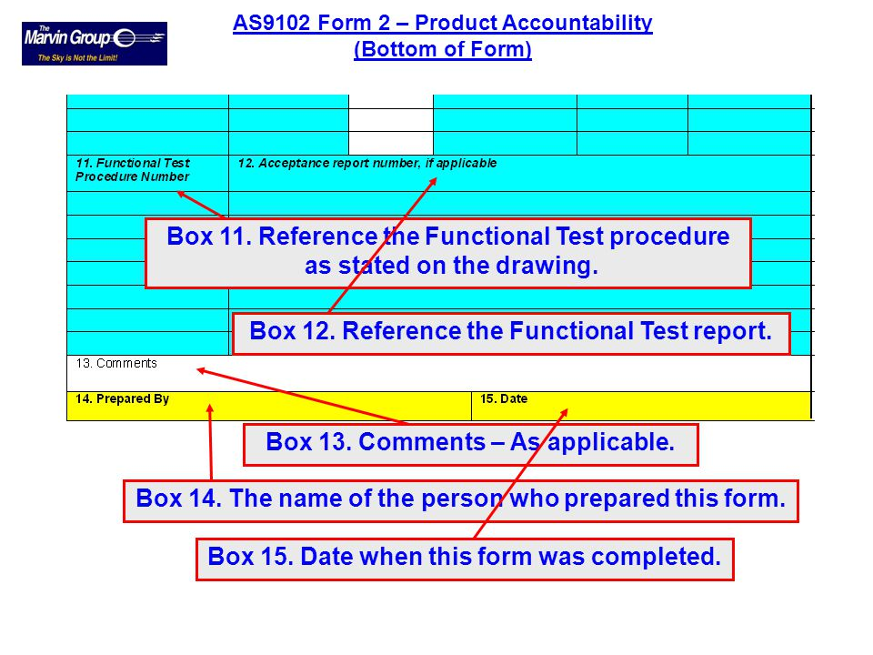 Box 11. Reference the Functional Test procedure