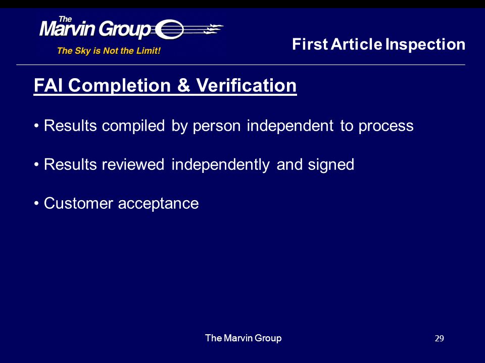 FAI Completion & Verification