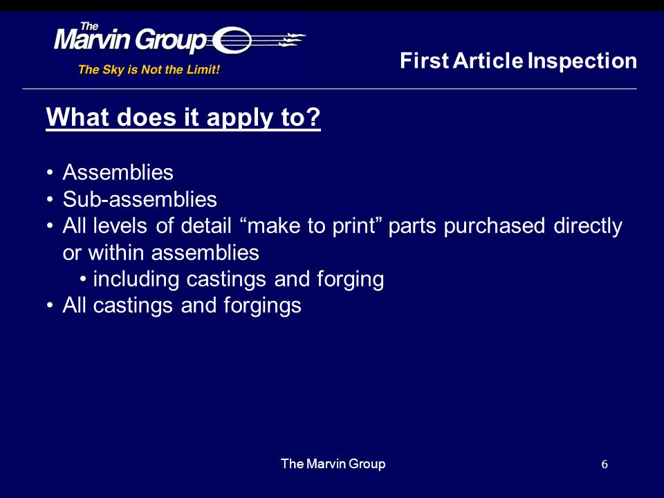 What does it apply to First Article Inspection Assemblies