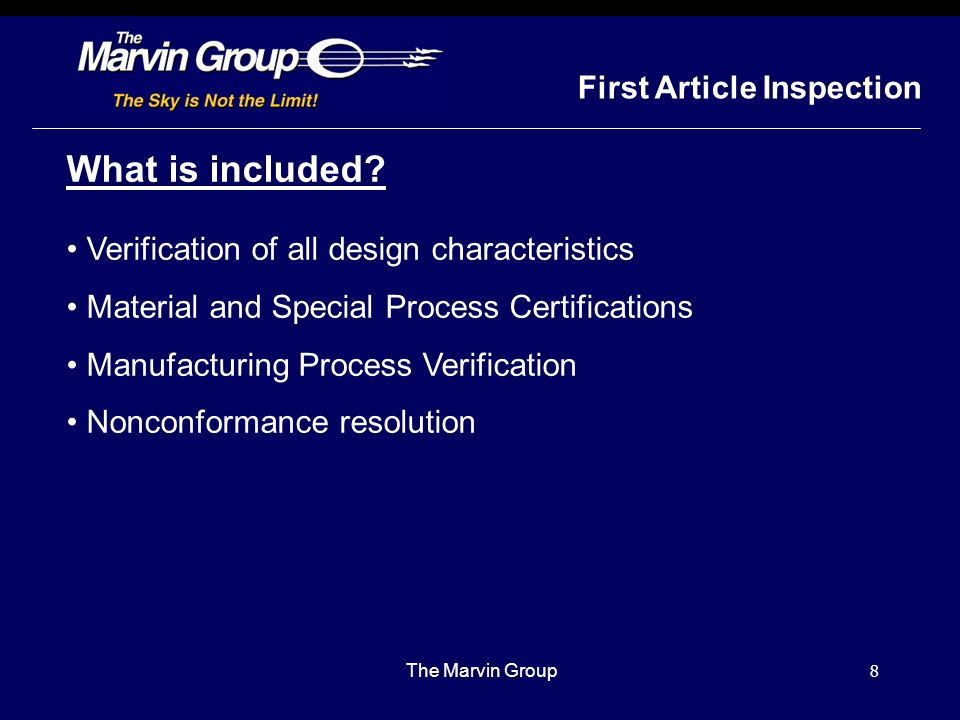 What is included First Article Inspection