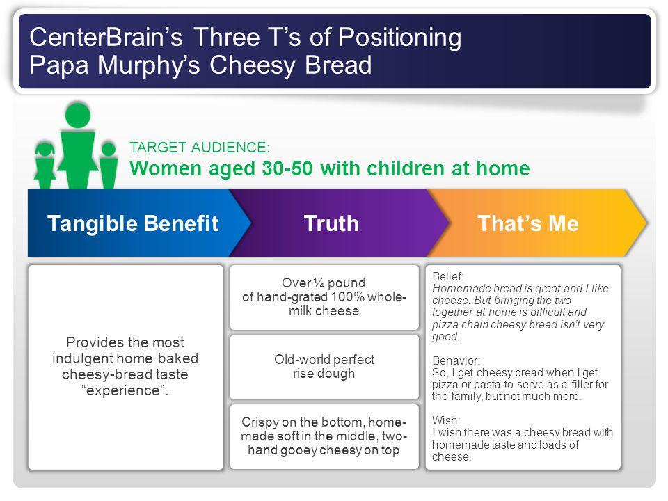 CenterBrain's Three T's of Positioning Papa Murphy's Cheesy Bread