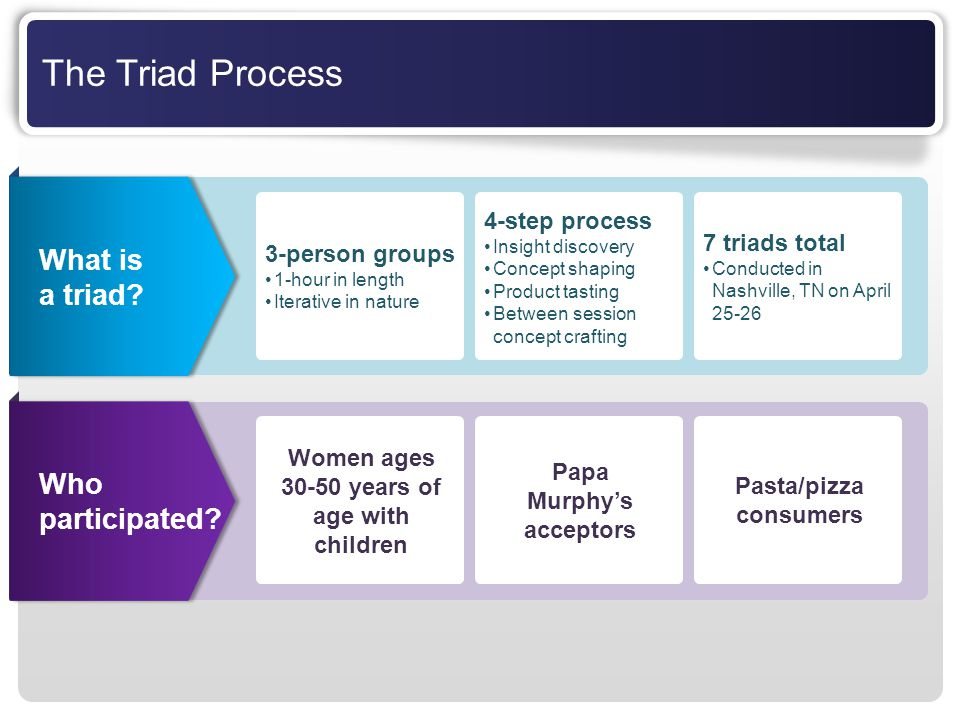 The Triad Process What is a triad Who participated 4-step process
