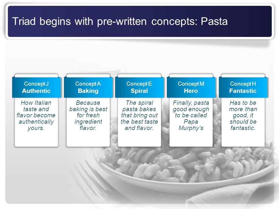 Triad begins with pre-written concepts: Pasta