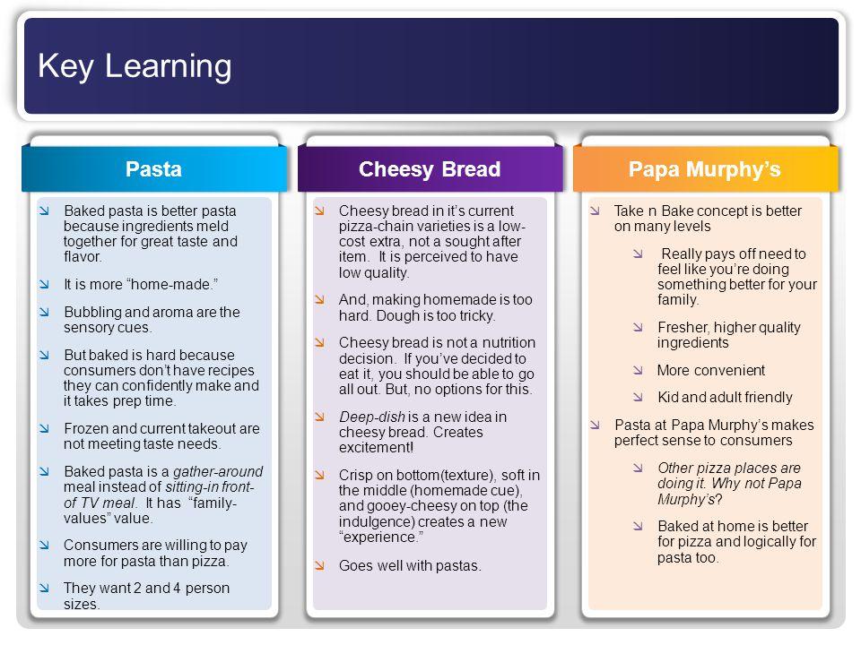 Key Learning Pasta Cheesy Bread Papa Murphy's