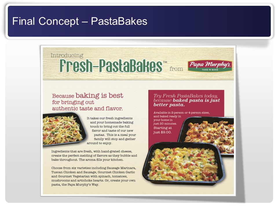 Final Concept – PastaBakes